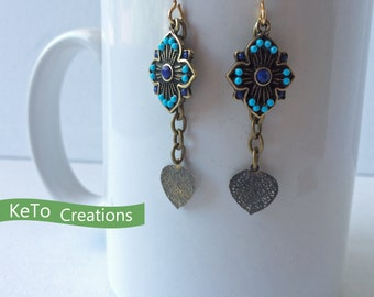 Earrings, Natural Brass Earrings, Turquoise And Blue Bead Earrings, Dangle Natural Brass Earrings,