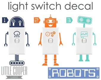 FREE POSTAGE AUSTRALIA_Robots Light Switch Vinyl Wall Decal Sticker_Very Cute_For Nursery OR Kids Room_ID#1327