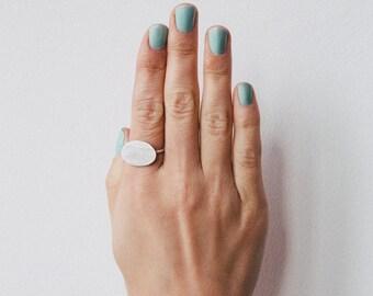 SALE! Oval Minimalist Mat Silver Ring