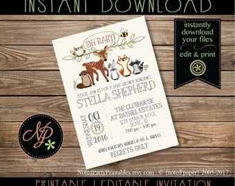 woodland animal baby shower invitation woodland baby shower woodland invitation rustic baby shower
