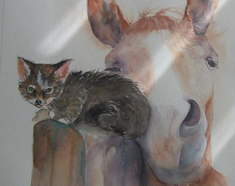 "Kitten and Horse watercolour painting  ""Best of Friends"""