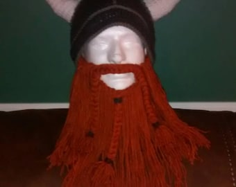 ADULT VIKING HAT - dark grey hat with red/orange detachable beard - adult onesize