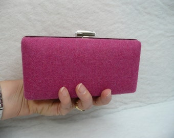 Pink Wool Clamshell Clutch//Clamshell Purse//Minaudiere//Wedding Purse