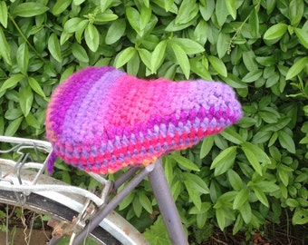 Crochet bike seat cover/ seat cover/saddle cover - Pink/Purple, handmade bicycle seat - Thick, chunky & soft yarn. Ready to go! Gorgeous!