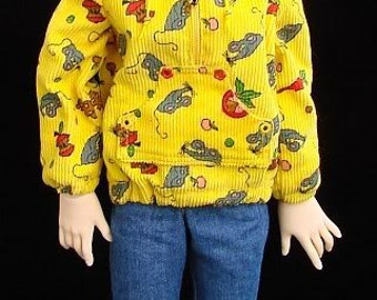 Yellow corduroy hoodie for MSD doll