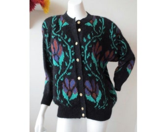 Vintage 80s Mohair Floral Cardigan // by BHS Separate Choice // Size 10- 12 Medium-Large M/L