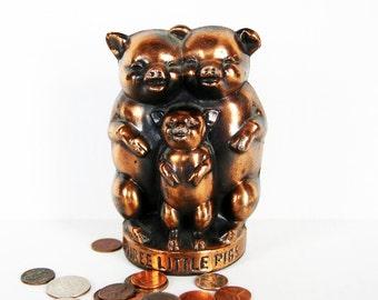 Three Little Pigs Bank Vintage Metal Cast  Still Coin Savings Bank Figurine
