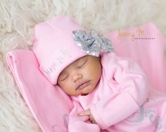 Silver Bow Pink Newborn Girl hat...newborn baby hat...pink newborn hat...new baby hat...baby girl hat...take home hat.newborn photo prop hat