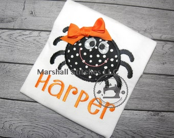 Girl's Spider Applique Shirt/ Personalized Girl Halloween Spider Shirt/ Girl Spider Shirt/ Halloween Sibling Shirt