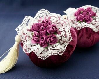 Lavander sachets (velvet), Red velvet - home fragrance - handmade sachets