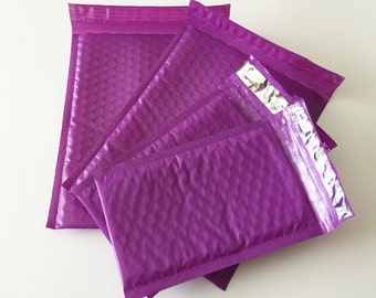 20 4x8 And 6x9 Purple  Bubble Mailers Assortment 10 Each Size 000 Size 0 Self Sealing Shipping Envelopes Valentine Spring Easter