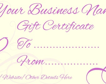 Printable Gift Certificates/Vouchers Pack of 4