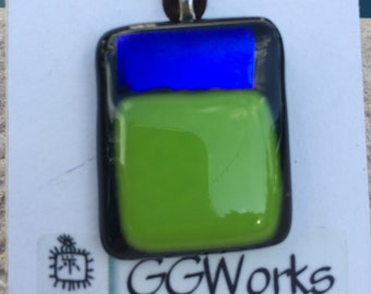 Green and metallic blue pendant