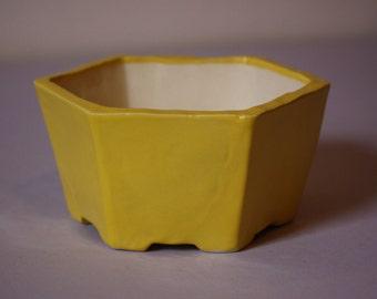Yellow hexagonal stoneware planter pot