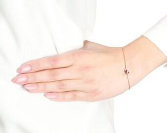 Rose Gold Plated Triangle Bracelet, Simple Rose Gold Bracelet