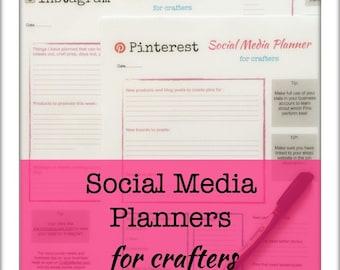 Social media planners for Craft Businesses, digital download pdf, 4 files , Pinterest, Instagram and Twitter, plus calendar, marketing
