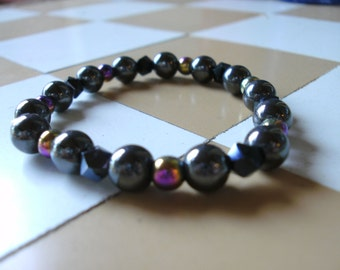 Bracelet: Hematite with Multi-Luster Hematite and Black Glass Faceted