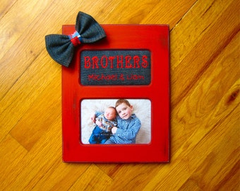 custom photo frame brothers personalized frame gift for baby boys denim tie new baby boy gift new big brother gift red and navy frame
