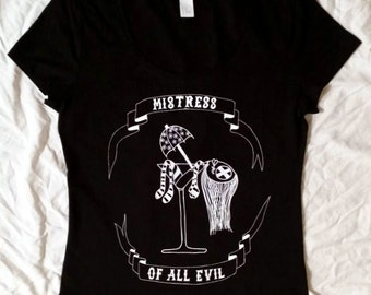 Mistress of all Evil-T-shirt-women-black-white-martini glass-doll-rockabilly-Cocktailschirmchen