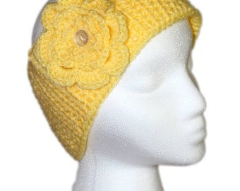 Yellow Head Wrap, Lemon Yellow Flower Head Wrap, Yellow Headband, Yellow Flower Headband, Yellow Headband with Removable Flower