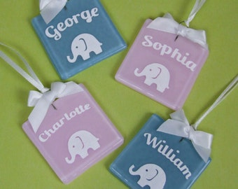 Handmade Personalised Blue or Pink Glass New Baby Keepsake / Shower Favour with Papercut Elephant by Jessica Irena Smith
