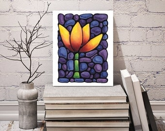 Tulip Art Print - Bright Yellow, Orange and Red Abstract Tulip on Gorgeous Purple Background - 8 x 10 inch - Signed by Artist Kathy Lycka