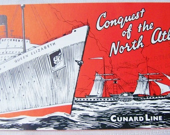 Vintage Travel Brochure - Conquest of the North Atlantic Cunard Line 1957