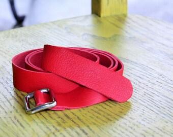 red leather waist belt hand made