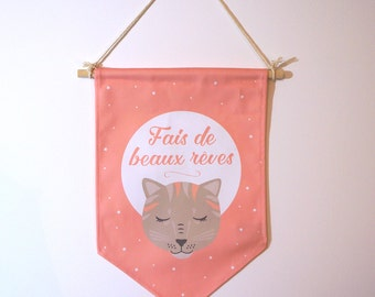 """Pennant, banner """"do dreams"""", cat, wall decoration, children's room."""