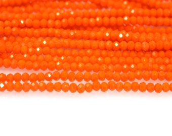 150pcs Crystal Glass Rondelle Opal Faceted beads opal  3x4mm