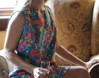 Silky Psychedelic  1960s Mini Dress