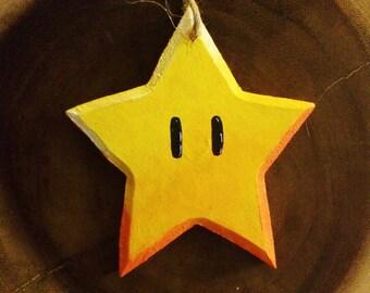 Handmade wooden Mario Super Star Ornament