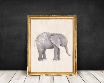 Digital Elephant Print Wall Art Printable Nursery Decor Water Color Instant Download Home Decor Wall Decor 5x7 8x10 11x14