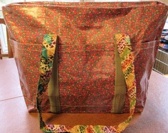 Floral Zippered Laminated Beach/Pool Tote - 20x13x6