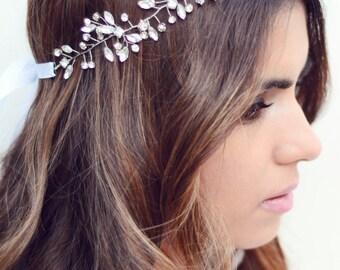 Sale!! The Windsor - Silver Vine Bridal Headband Rhinestones, Wedding Hair Accessory Headpiece Wreaths Tiara Boho Romantic Woodland Crystal