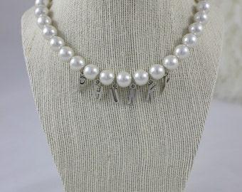 Pearl Custom Name Bangle Necklace