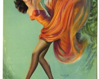 Vintage Original Art Deco 1940s Pin-Up Print by Billy Devorss Featuring a Gorgeous Leggy Brunette Burlesque Fire Dancer