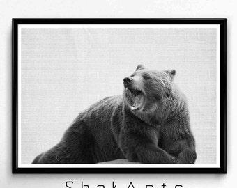 Nursery Bear Art, Bear Print, Rustic Modern Art, Woodland Nursery Decor, Black Bear Decor, Modern Minimal Art Prints, Printable Wilderness