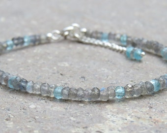 Labradorite and Apatite Faceted Beaded Bracelet