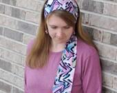 Women's Pink Multicolor Stretch Hair Wrap, head scarf, headscarf, hair scarf, hairscarf, head covering, headband, hair tie, head wrap
