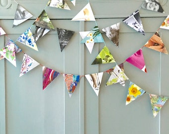 Festive Garland with flags. Hand made from recycled magazines.