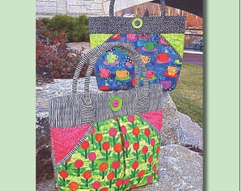 """West End Tote Pattern - Aunties Two Patterns - 12"""" x 12"""" x 5"""""""