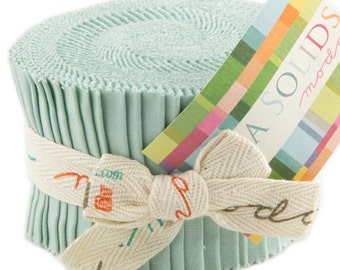 "Bella Solids - Jr Jelly Roll - Moda - (20) 2.5"" Strips - Seafoam Green # 177"
