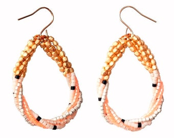 Delica® Seed Beads Gold Colorblock Twisted Teardrop Earrings with - Coral & Powder Pink