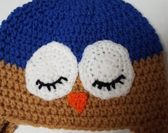 Crochet owl hat, character hat, crochet earflap hat, winter hat, children's crochet hat, baby photography prop, UK seller