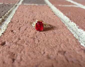 Ruby July Birthstone 10k Gold Ring with Two Diamonds