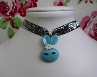 Kawaii Silver Glitter Bunny Choker Necklace