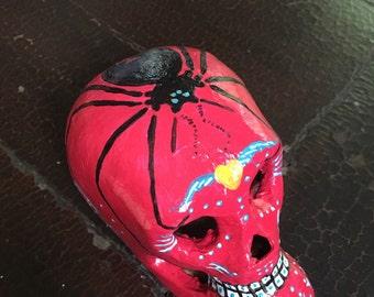 calavera paper mache skull - day of the dead - Araña - spider