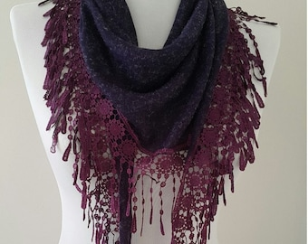Scarf Shawl Gift For Her Gift Ideas Purple Victorian Lace Guipure Scarf Womens Gifts Womens Scarves Gift For Wife Gift for Grandmother