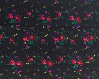 black floral fabric. roses print. folk fabric